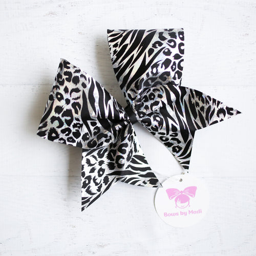 Leopard Black and Silver Cheer Bow