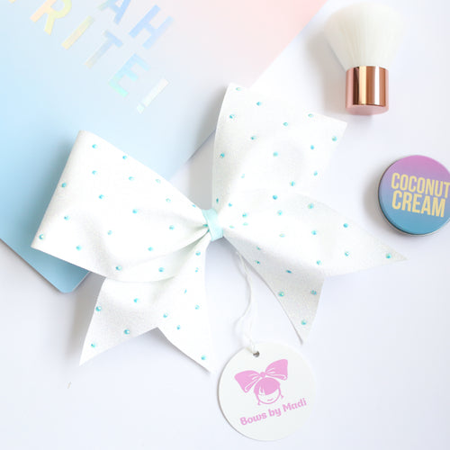 White Glitter Sprinkles Blue Cheer Bow