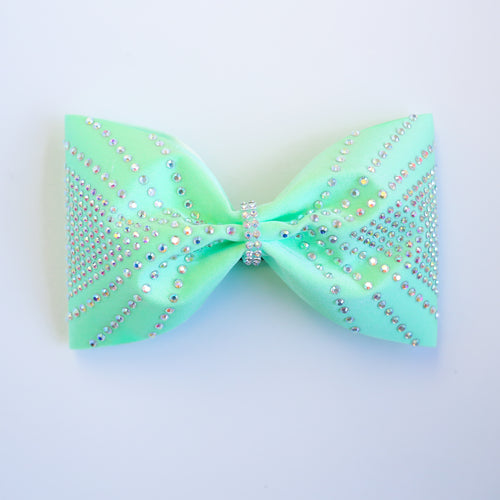 Lime Green Shooting Rhinestones 4inch Tailless Bow