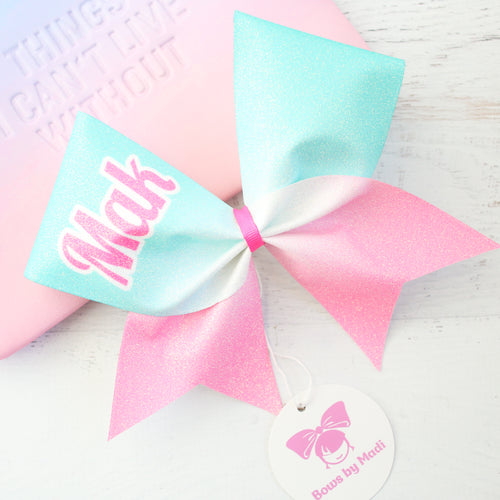 Pink & Aqua Ombre Customised Glitter Cheer Bow