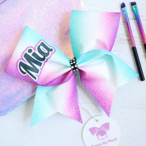 Poppy Customised Pink Glitter Sublimated Ombre Cheer Bow