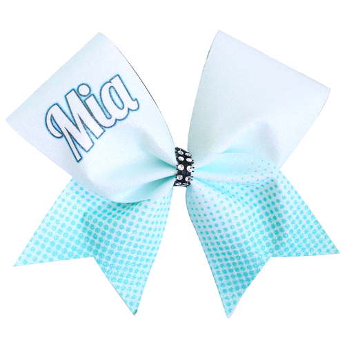 Mia Customised Glitter Sublimated Aqua/Blue Ombre Cheer Bow