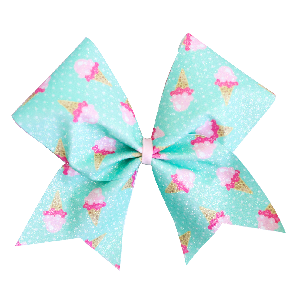 Mint Ice Creams Glitter Cheer Bow