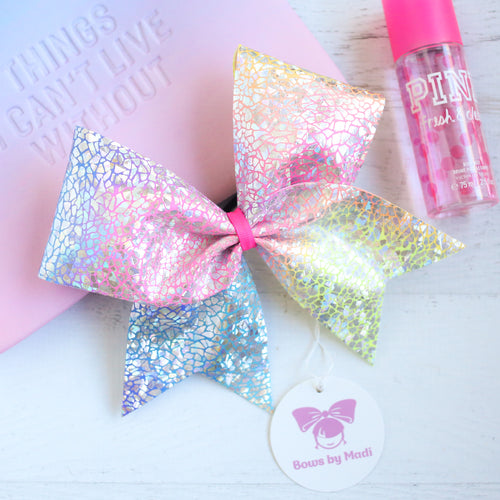 Multicolour Pastel Crackle Cheer Bow