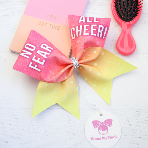 No Fear All Cheer! Glitter Cheer Bow