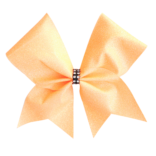 Neon Orange Glitter Cheer Bow