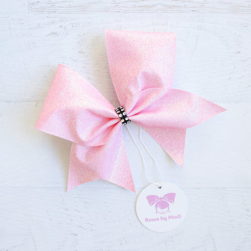 Pastel Pink Glitter Cheer Bow