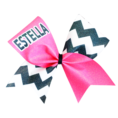 Blue & Pink Crackle Cheer Bow