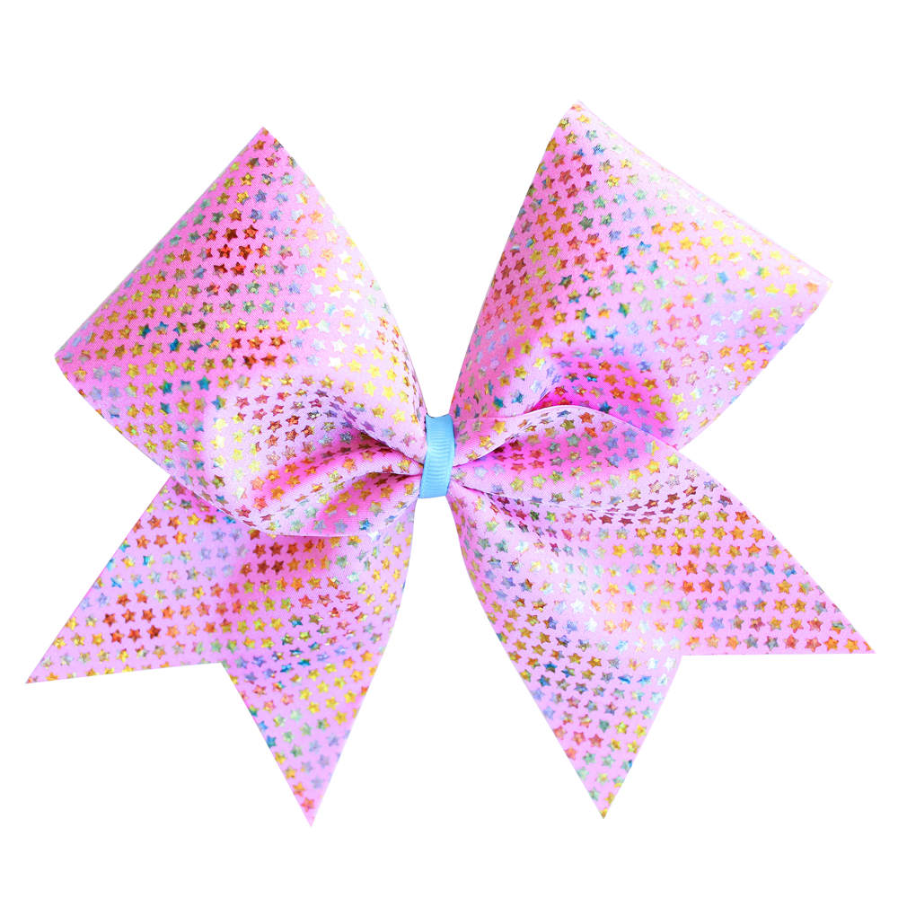 Pink Scattered Stars Cheer Bow