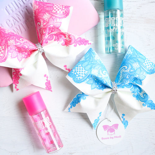 Lace Blue or Pink Glitter Cheer Bow