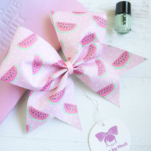 Pink Watermelons Glitter Cheer Bow