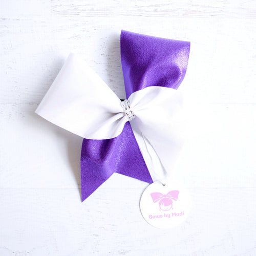 Purple and Pearl White Cheer Bow