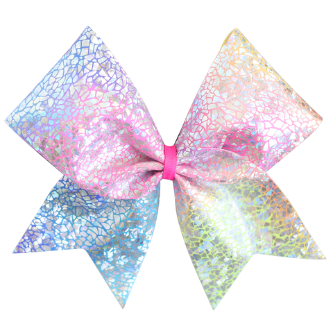 Rainbow Purple 4inch Tailless Rhinestone Glitter Bow