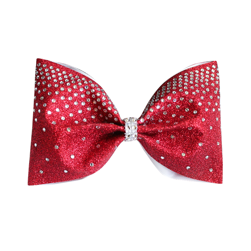 Ruby Red Glitter Rhinestone 4inch Large Tailless Bow