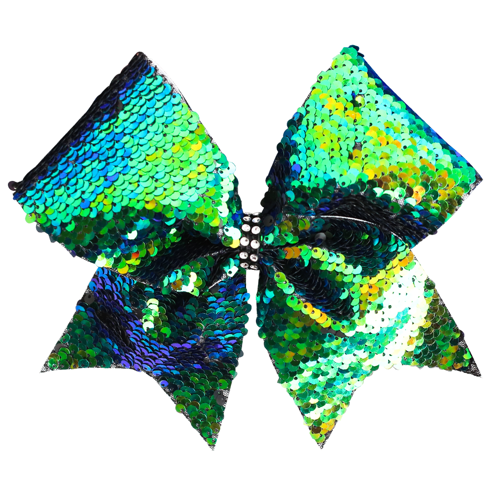 Reversible Sequins Blue/Green Cheer Bow