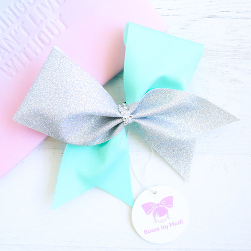 Aqua and Silver Glitter Cheer Bow