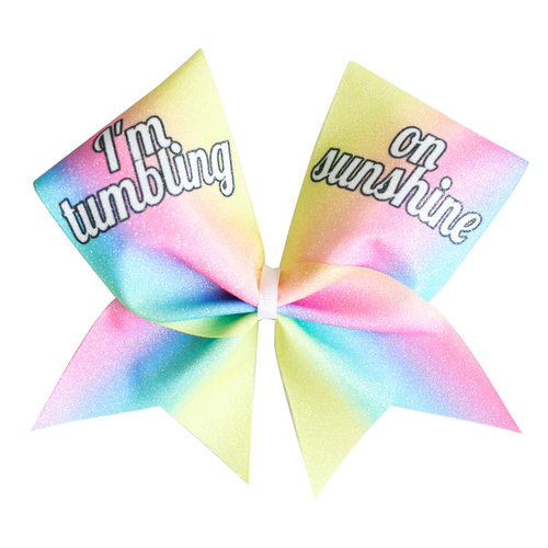 I'm Tumbling on Sunshine Glitter Cheer Bow