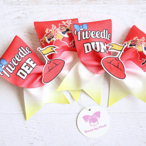 Tweedle Dee & Tweedle Dumb Glitter Cheer Bow Set
