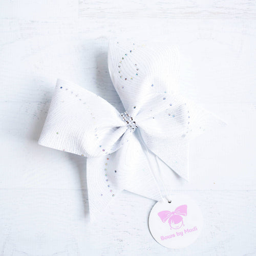 White Velvet Cheer Bow with Swirls