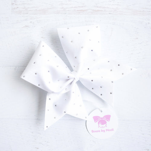 White Scattered Bling Cheer Bow