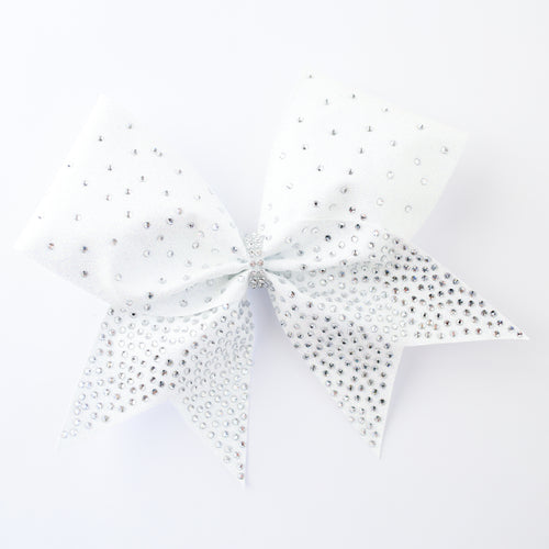 White Glitter Rhinestones Cheer Bow