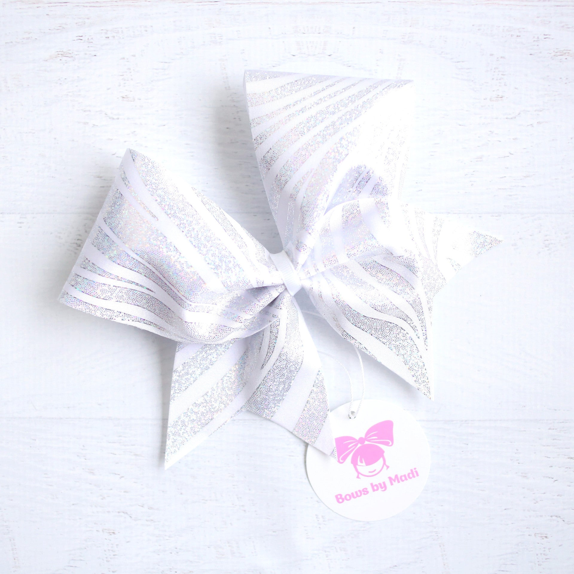 Silver and White Swirl Cheer Bow