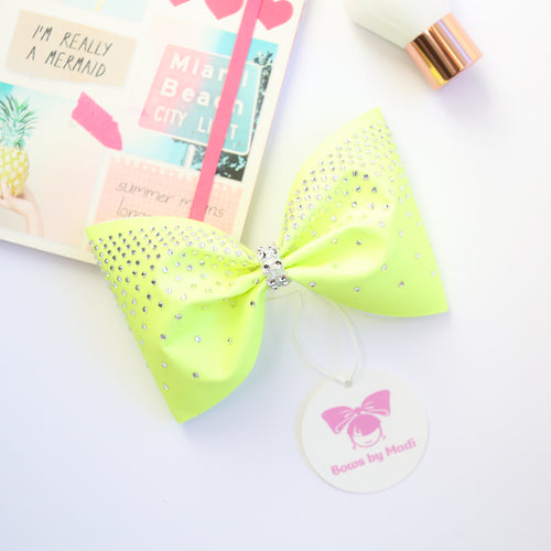 Neon Yellow 4inch Tailless Rhinestone Glitter Bow