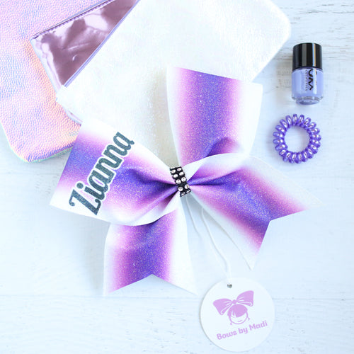 Zianna Customised Name Purple/White Ombre Bow