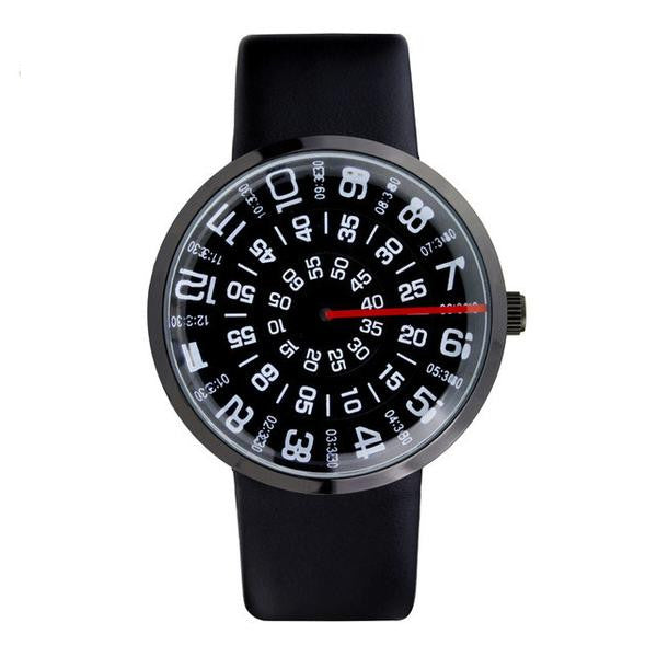Vortex Men's Dress Watch (Creative Red Line Design And Leather Strap)