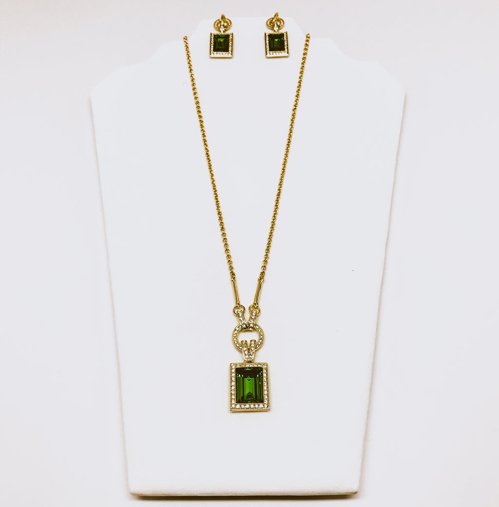 Emerald Green And Gold Fashion Necklace And Earring Set