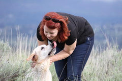 A woman who has done aggressive dog training with her dog. Her yellow lab gives her a lick to thank her for the bond she has created with her dog