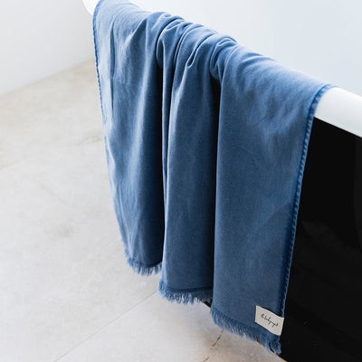 Indigo Stonewash Bath Towel - The Beach People