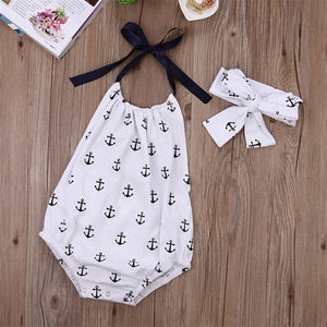 Anchor Print Halter Neck Romper and Matching Headband
