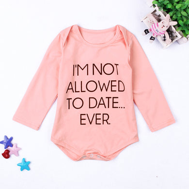 'I'm Not Allowed to Date' Long Sleeve Organic Cotton Bodysuit