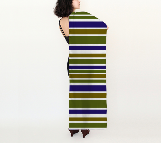 Olive Green and Blue Big Stripes 16x72 Long Scarf
