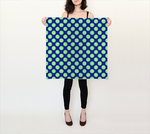 Retro Green Yellow Circles on Blue 26x26 Square Scarf