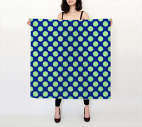 Retro Green Yellow Circles on Blue Pattern 36x36 Square Scarf