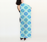 Retro Turquoise Blue Circles Pattern 16x72 Long Scarf