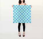 Retro Turquoise Blue Circles Pattern 26x26 Square Scarf