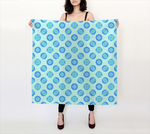 Retro Turquoise Blue Circles Pattern 36x36 Square Scarf