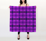 Bright Pink Mod Circles with Green Lines 36x36 Square Scarf