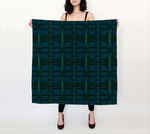 Mod Teal Blue with Green Stripes Circles Pattern 36x36 Scarf