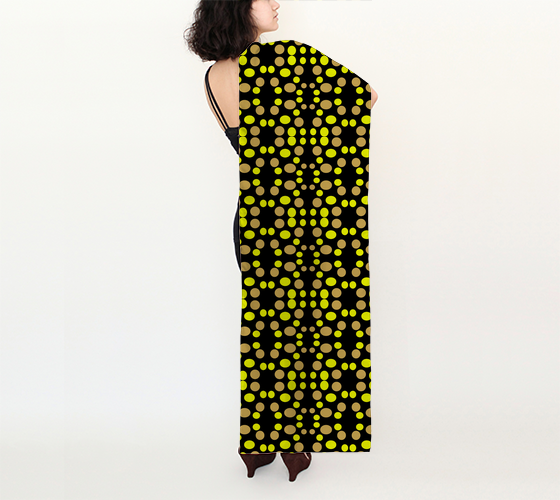 Yellow polka dots pattern on black 16x72 Long Scarf