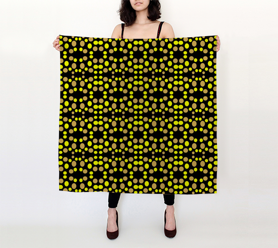 Yellow dots pattern on black 36x36 Square Scarf