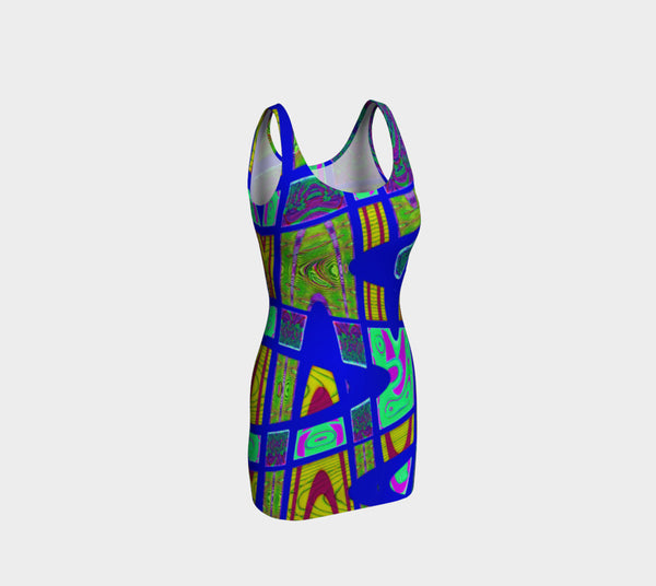 Bright Blue Yellow Abstract Fitted Bodycon Dress