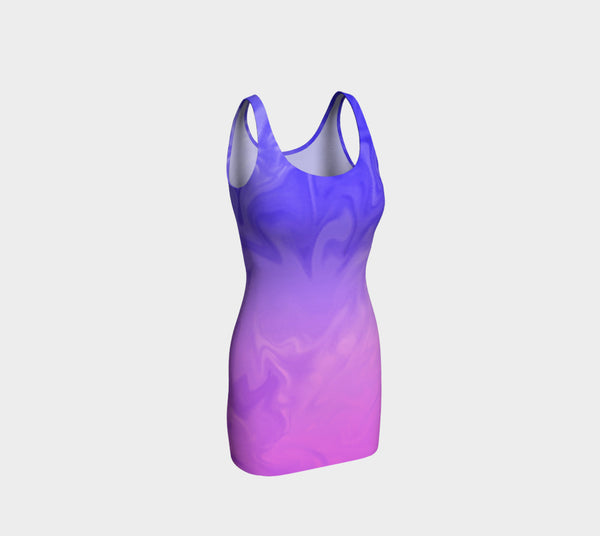 Ombre Purple Pink Design Fitted Dress
