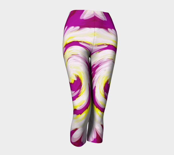 Bright Pink Yellow Swirl Abstract Capris