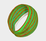 Modern Orange Green Stripes Pattern Headband Scarf