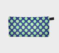 Retro Green Yellow Circles on Blue Clutch Case