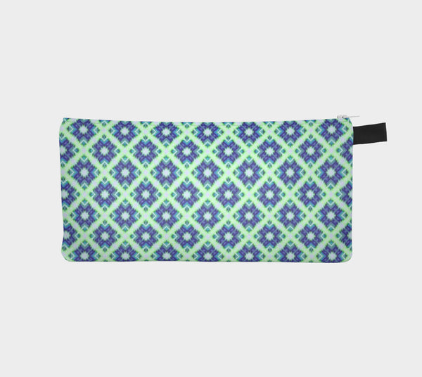 Cute Blue Green Crisscross Pattern Clutch Case